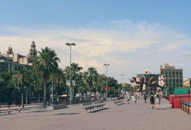 street near harbour in barcelona
