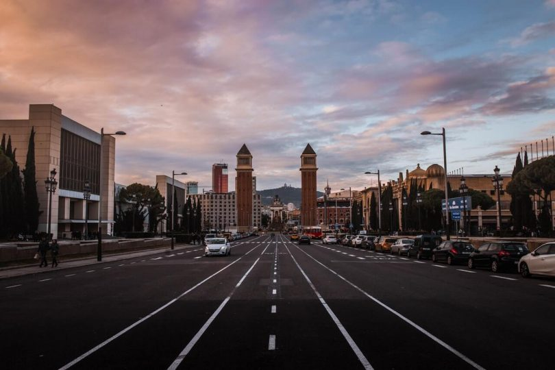 street with parking in barcelona