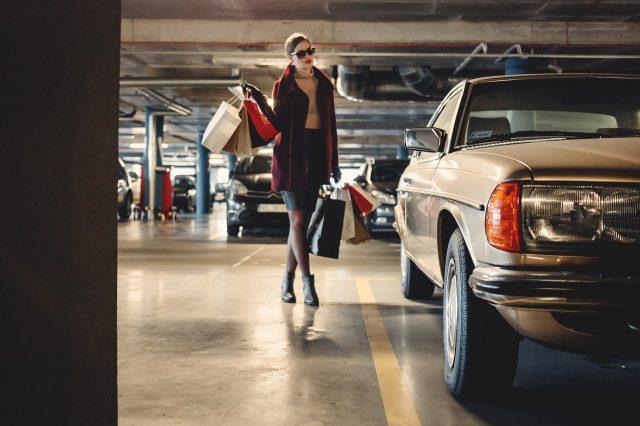 parked car in garage