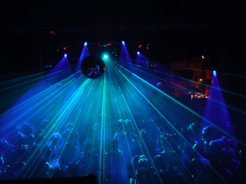 blue lights inside nightclub