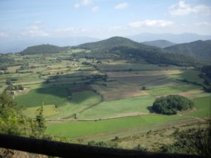 view from up in the air of la garrotxa in catalonia
