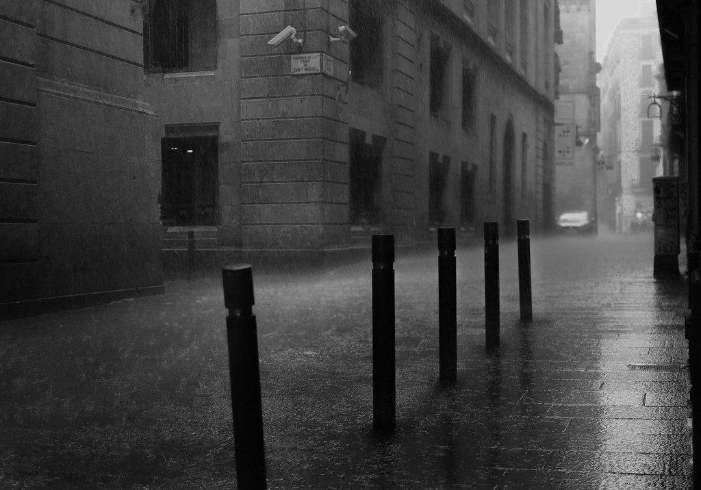 rain in the streets of Barcelona