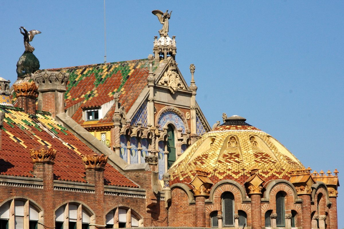 districts in barcelona city - colorful roof