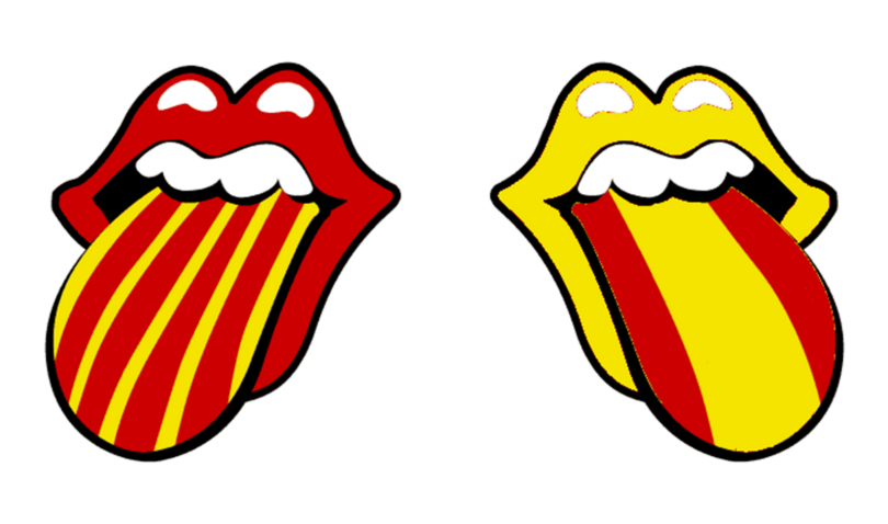 two mouths with tongues out in spanish and catalan colours