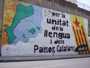 mural with text on catalan language