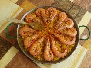 prawns and paella