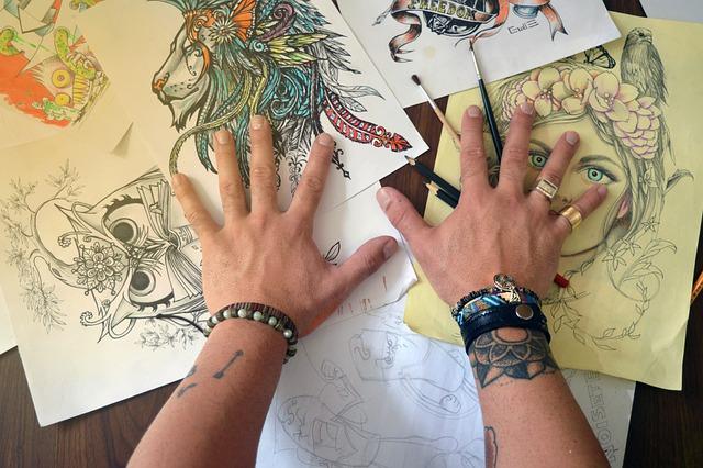 tattoo designs on table