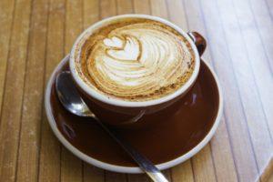 cup of coffee, foam with heart shape