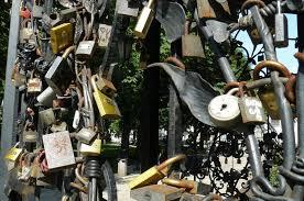 Romantic love locks in Barcelona