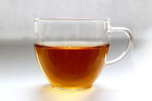 transparent cup of tea