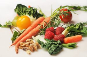 carrots, strawberries, nuts spinach and tomatoes