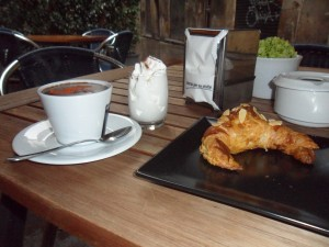 Wickedly dark hot chocolate, buttery croissants and fresh cream at Escriba Barcelona