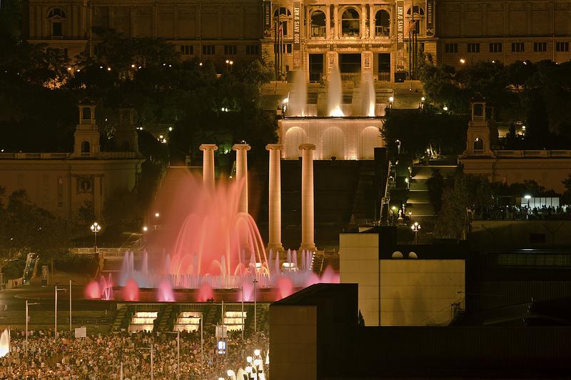 red coloured magic fountain barcelona