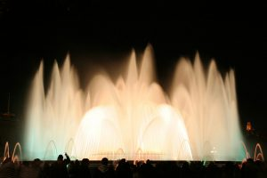 white and green colours at magic fountain barcelona