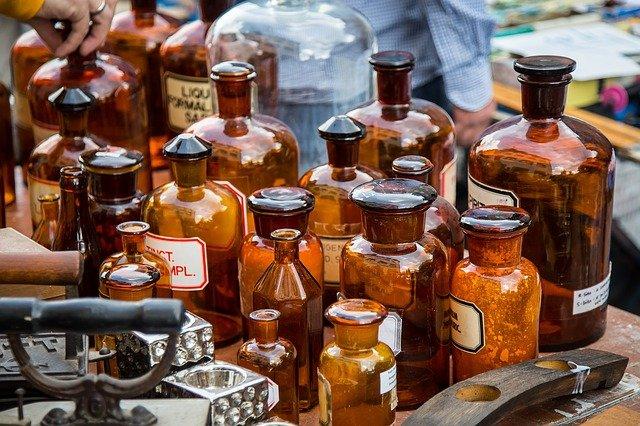 brown bottles at flea market