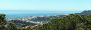 mountain and maresme coast with sea
