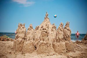 sand sculptures on beach