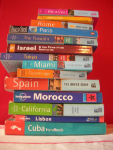 pile of travel books
