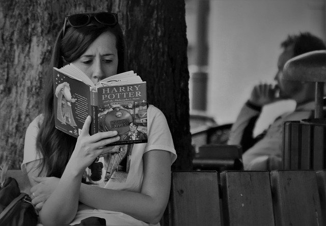 lady reads book on bench