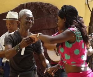 couple dancing to live salsa music