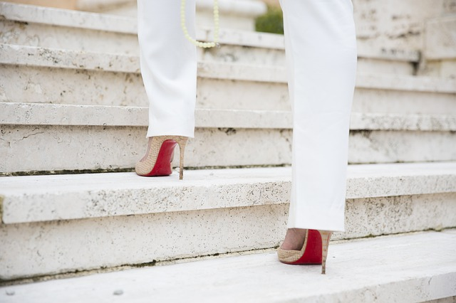 high heels on stairs