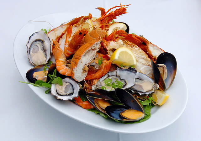 seafood on a white plate