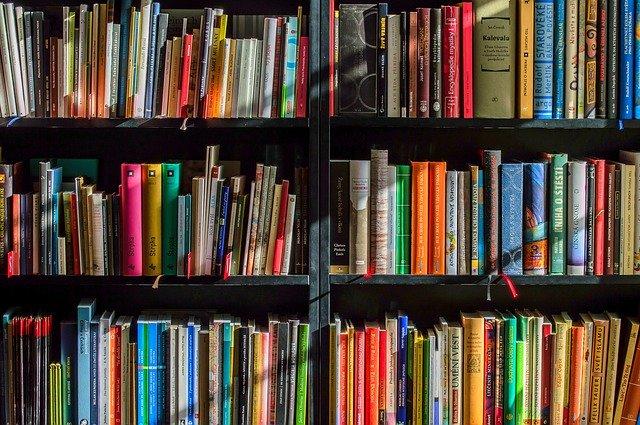 book shelves full of books