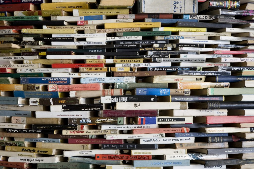 large piles of books