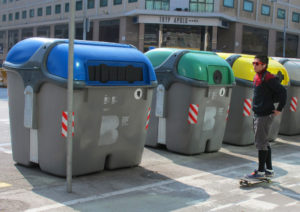 Barcelona's blue, green and yellow waste containers