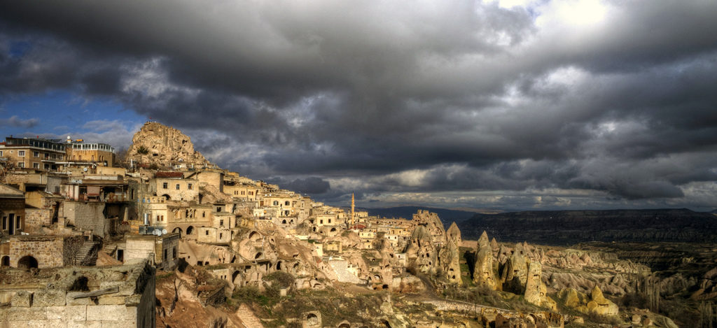 Dragon toothed landscape in Cappadocia, Turkey