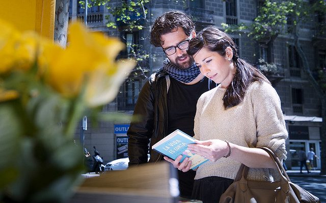 couple looking at book