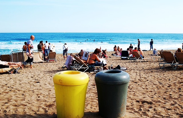 grey and yellow container on beach