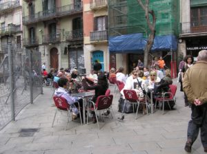 large group of people on terrace in barcelona
