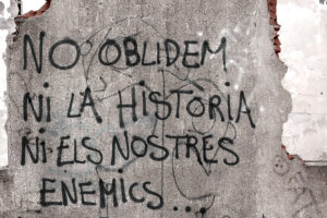 catalan words on grey wall