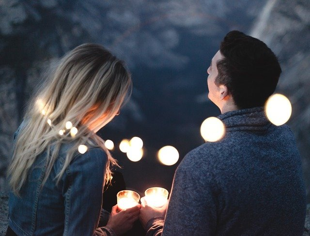 couple with lights