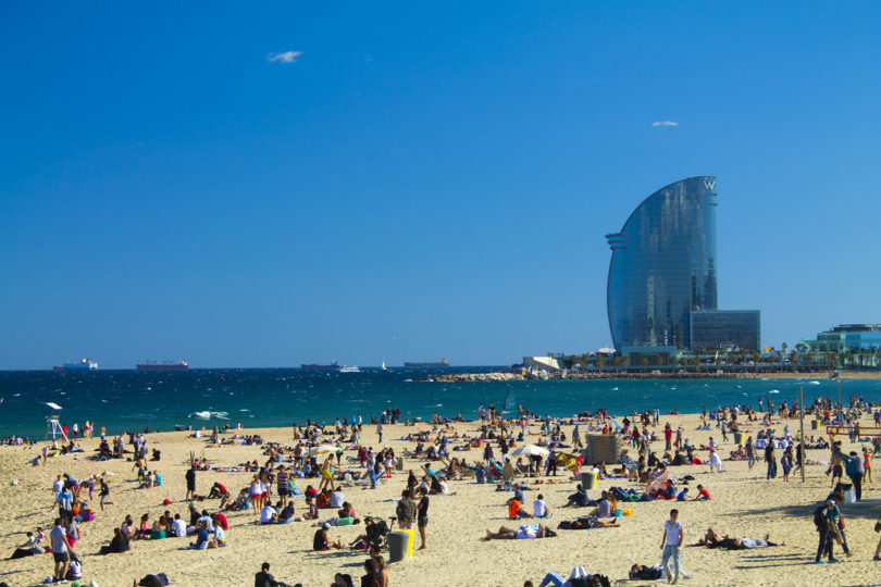 beach barcelona with W hotel in background