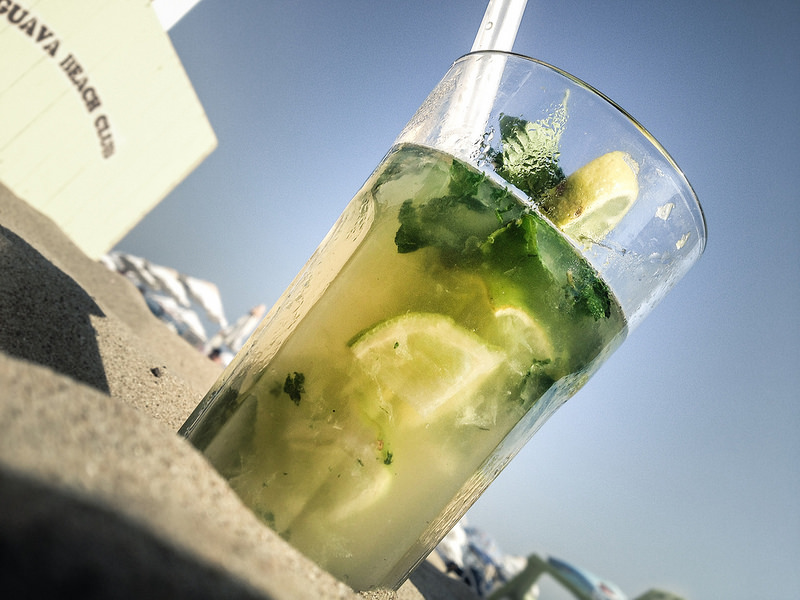 cocktail with lemon, lime and mint