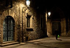 dark street in barcelona