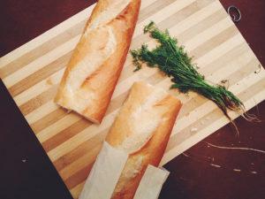baguette cut in two