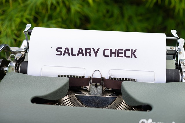typewriter with salary
