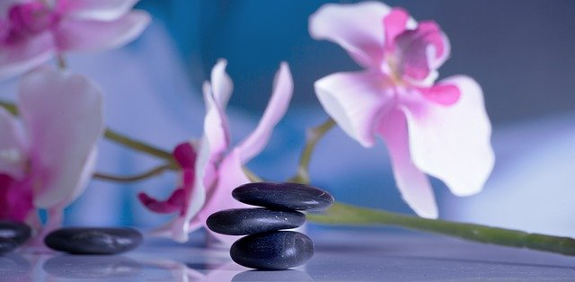 orchid and massage stones