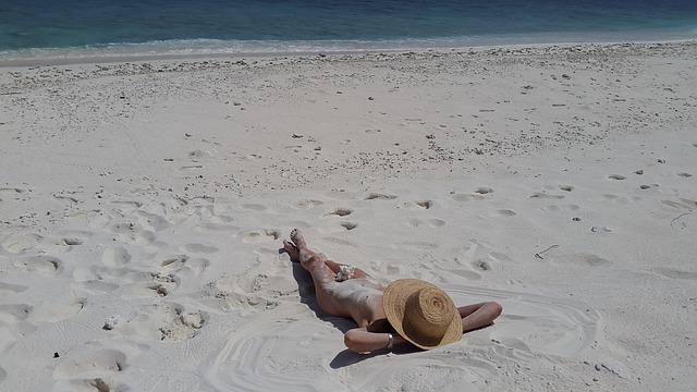 woman on nudist beach