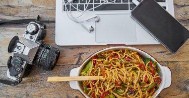 camera dish and laptop