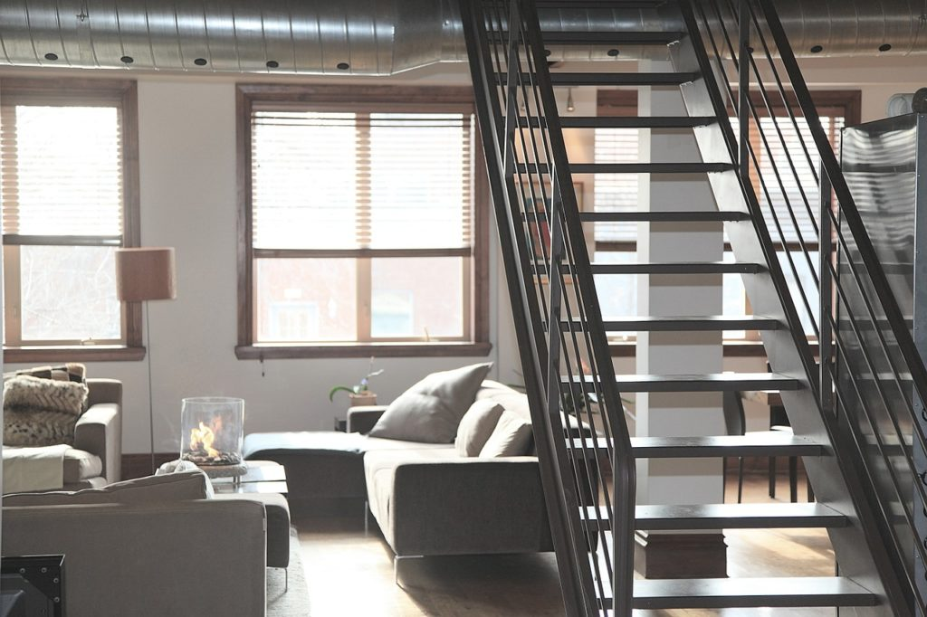 stairs in living room - leave a rental apartment