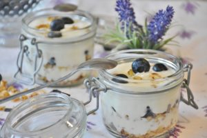 yoghurt with blueberries in a pot