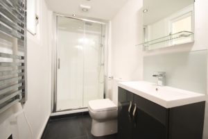 modern black and white bathroom with shower