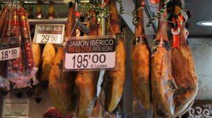 spanish ham at market