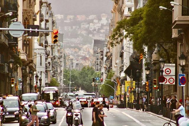 busy city of barcelona