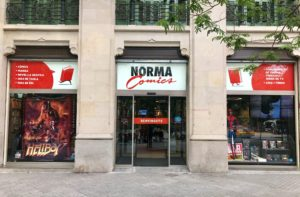 Main entrance to Norma Comics store