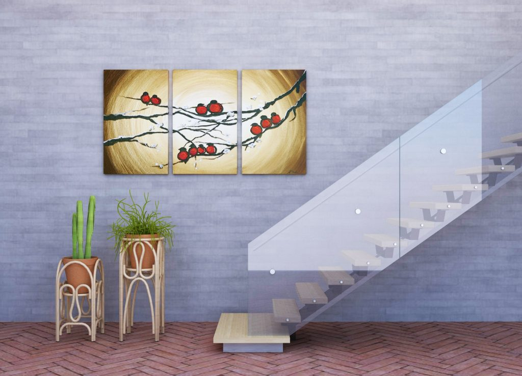 wall with art and stairs, living in a duplex
